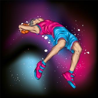 Jogador de basquete pulando com a bola
