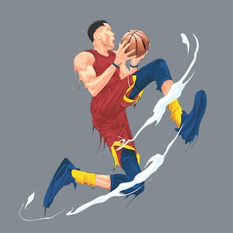 Jogador de basquete pulando e chutando