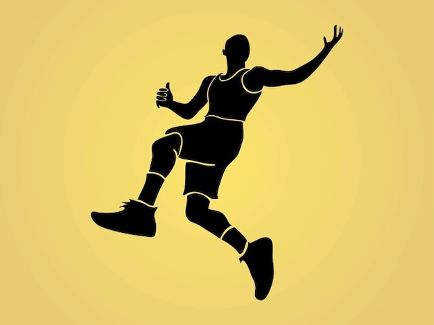 Jogador de basquete saltar silhueta