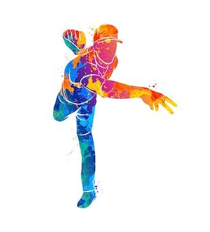 Jogador de beisebol abstrato batendo na bola com respingos de aquarelas