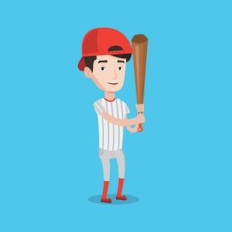 Jogador de beisebol com ilustração vetorial de morcego.