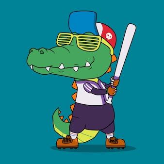 Jogador de beisebol crocodilo.