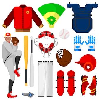 Jogador de beisebol e equipamentos de esporte