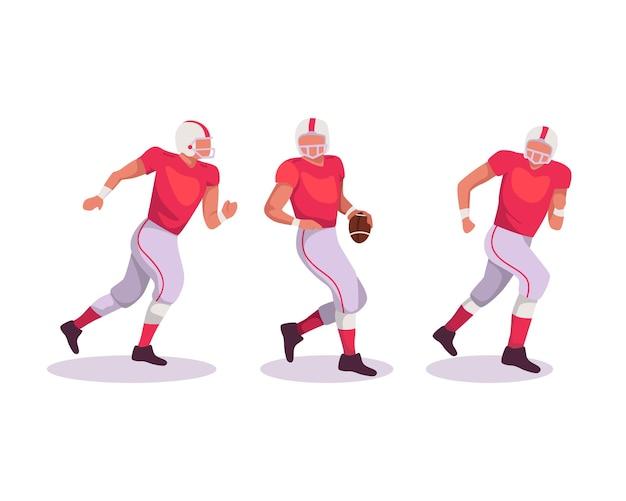 Jogador de desportista de futebol americano com bola no fundo isolado. futebol palyer com um uniforme vermelho em ação. em um estilo simples