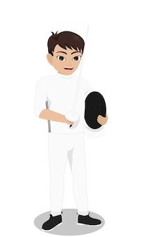 Jogador de esgrima de caráter masculino segurando o capacete e florzinha
