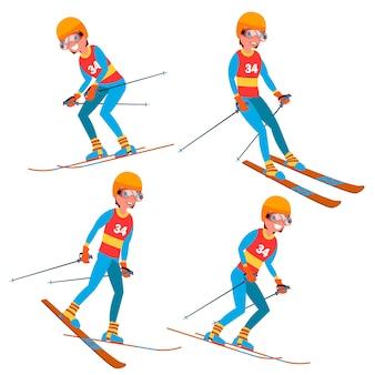 Jogador de esqui masculino conjunto de caracteres