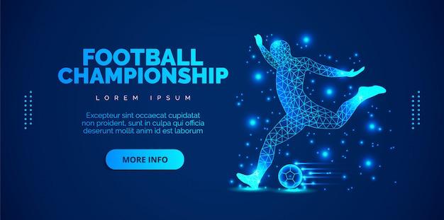 Jogador de futebol abstrato, jogador de futebol de partículas sobre fundo azul. brochuras de modelo, folhetos, apresentações, logotipo, impressão, folheto, banners.