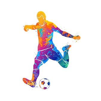 Jogador de futebol abstrato rápido, atirando uma bola do respingo de aquarelas. ilustração de tintas.