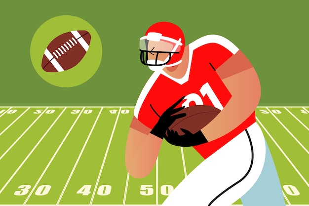 Jogador de futebol americano correndo com a bola