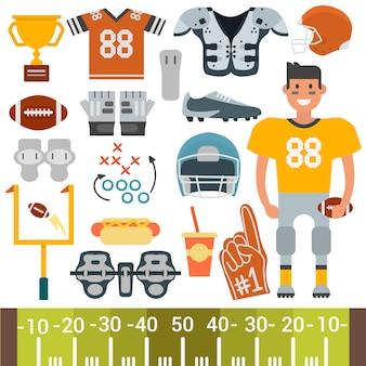 Jogador de futebol americano e conjunto de equipamentos, estilo cartoon