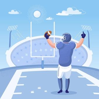Jogador de futebol americano plana