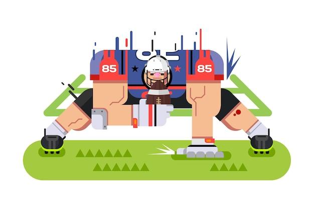 Jogador de futebol americano. pose de proteção, bola e atleta, jogo e touchdown