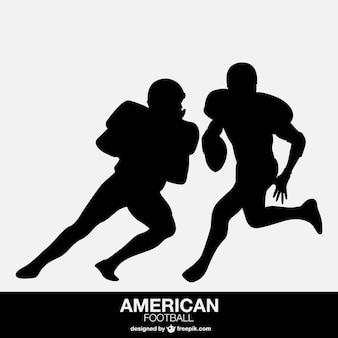 Jogador de futebol americano silhuetas isoladas