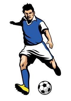 Jogador de futebol atirando uma bola