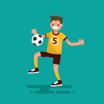 Jogador de futebol bate a ilustração de bola