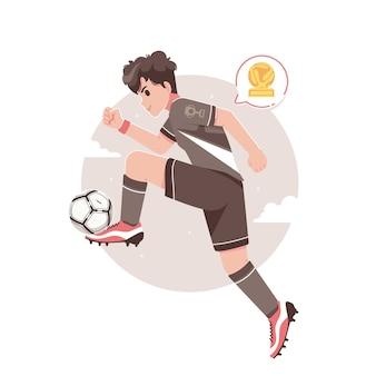 Jogador de futebol chutando a bola