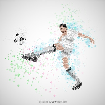 Jogador de futebol chutando bola vetor