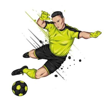 Jogador de futebol com a bola.