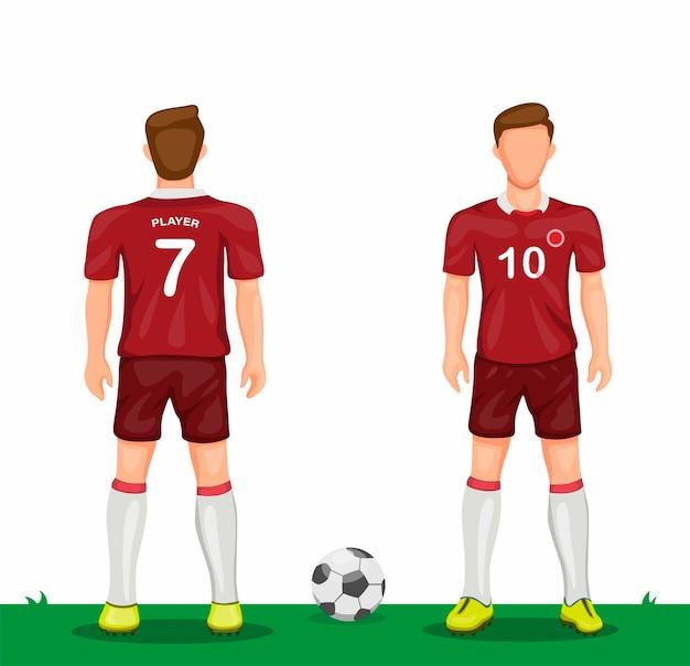 Jogador de futebol com ícone de símbolo de uniforme vermelho definido de vista traseira e frontal conceito de camisa de futebol esporte na ilustração dos desenhos animados