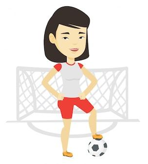 Jogador de futebol com ilustração de bola.