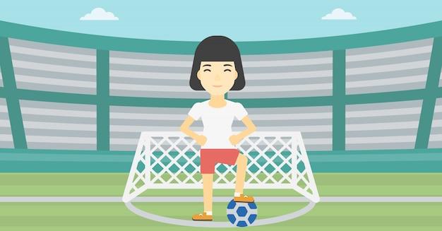 Jogador de futebol com ilustração vetorial de bola.