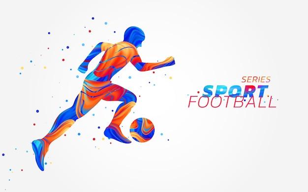 Jogador de futebol com manchas coloridas isoladas