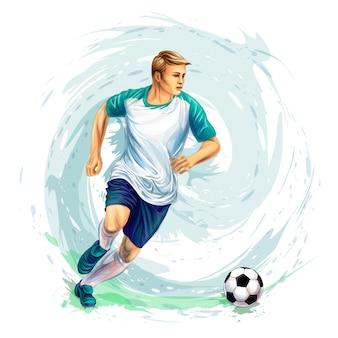 Jogador de futebol com uma bola de respingos de aquarelas. ilustração vetorial de tintas