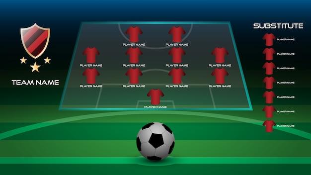 Jogador de futebol começando line up com logotipo da equipe, nome da equipe e jogador substituto