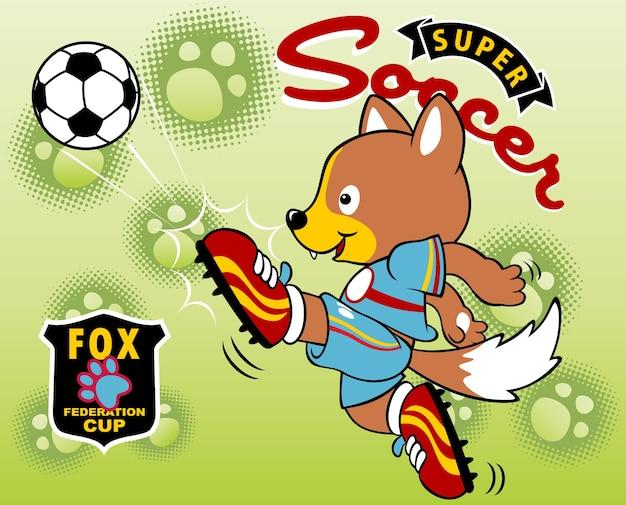 Jogador de futebol de animais, ilustração de desenho animado de vetores