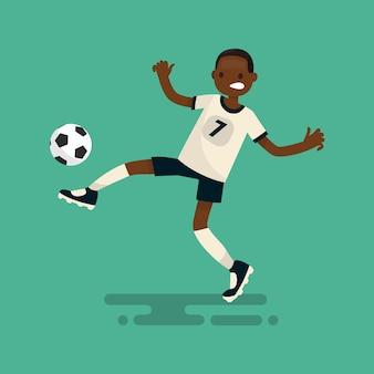 Jogador de futebol de pele escura marca um gol ilustração