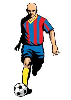 Jogador de futebol drible bola