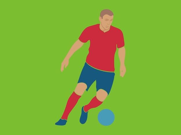 Jogador de futebol drible com bola