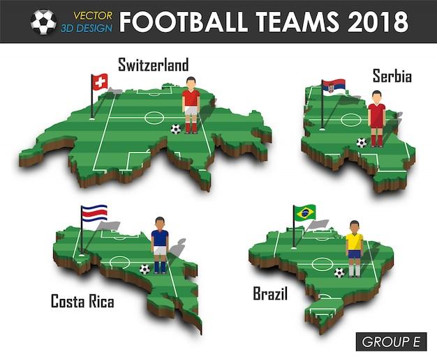Jogador de futebol e bandeira no 3d mapa do país de design. Vetor Premium