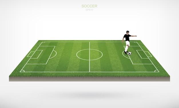 Jogador de futebol e futebol bola de futebol no campo de futebol.