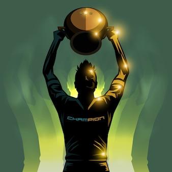 Jogador de futebol e troféu