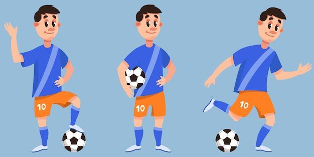 Jogador de futebol em diferentes poses. personagem masculina em estilo cartoon.