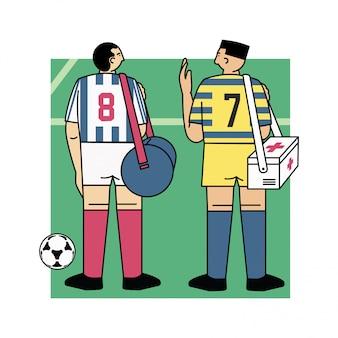 Jogador de futebol em ilustração vetorial de campo