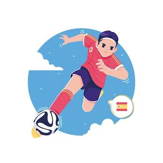 Jogador de futebol europeu chutando a bola