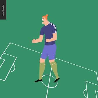 Jogador de futebol europeu de futebol no campo de futebol verde