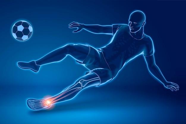 Jogador de futebol fazendo sidekick com o tornozelo machucado, efeito de raio-x em estilo 3d