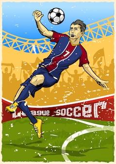 Jogador de futebol, fazendo, tiro aéreo