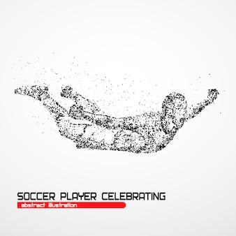 Jogador de futebol feliz após o goleiro da vitória em um fundo branco. ilustração.