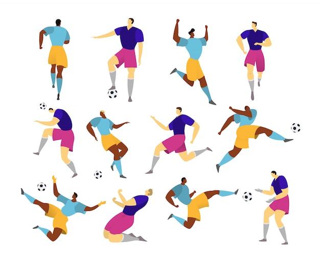 Jogador de futebol, homem joga futebol, ilustração, homem de uniforme com bola de futebol isolada no estilo branco, liso.