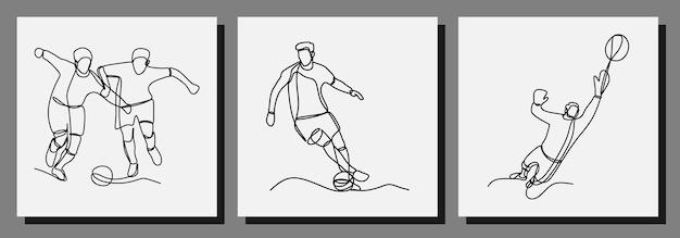 Jogador de futebol joga futebol ilustração vetorial de arte em uma linha