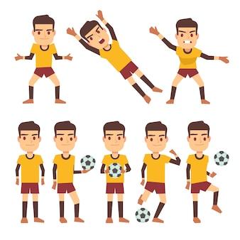 Jogador de futebol, jogador de futebol, goleiro em diferentes poses de jogos conjunto de personagens planas.