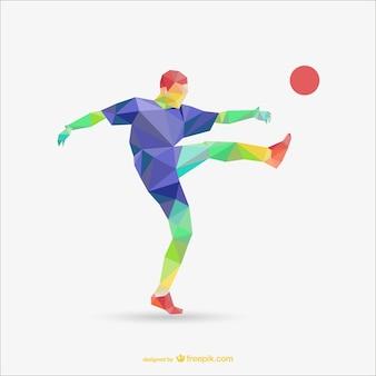 Jogador de futebol modelo poligonal