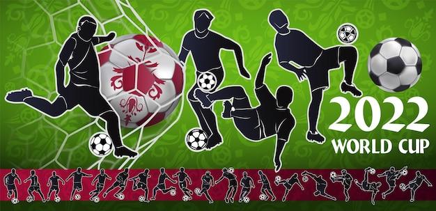 Jogador de futebol no contexto do estádio. letras de futebol. jogador de futebol no campeonato. ilustração em vetor cor tola em estilo simples, isolado no fundo branco.