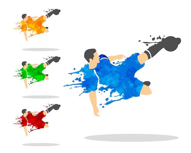 Jogador de futebol ou futebol em uma ação com splat splash e aquarela