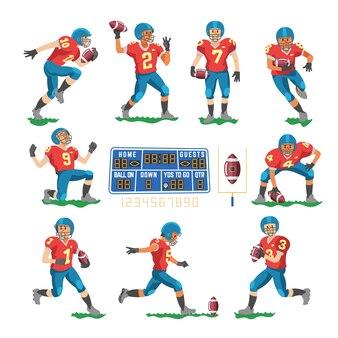 Jogador de futebol ou personagem de jogador de futebol no sportswear jogando com bola de futebol na ilustração do campo de futebol