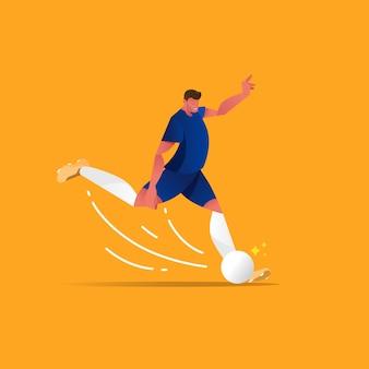Jogador de futebol plano chutou uma bola